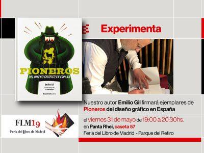 Emilio Gil firmará ejemplares de Pioneros del diseño gráfico en España en la Feria del libro de Madrid