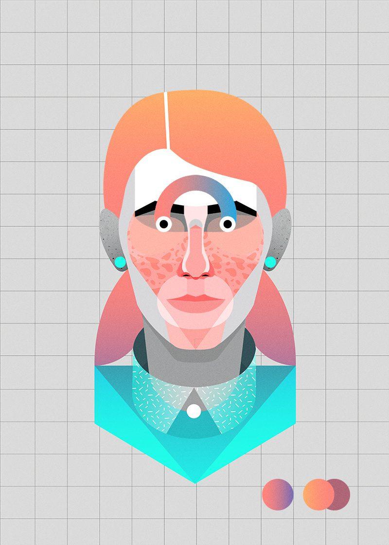 Ilustración y ciencia ficción. Geometría y color en los retratos de Casmic Lab