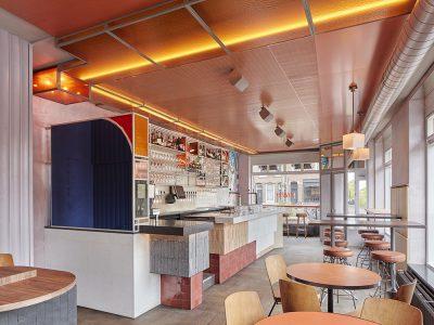 Ramona, diseño de interior de Studio Modijefsky. Superposición de colores y materiales. © Maarten Willemstein
