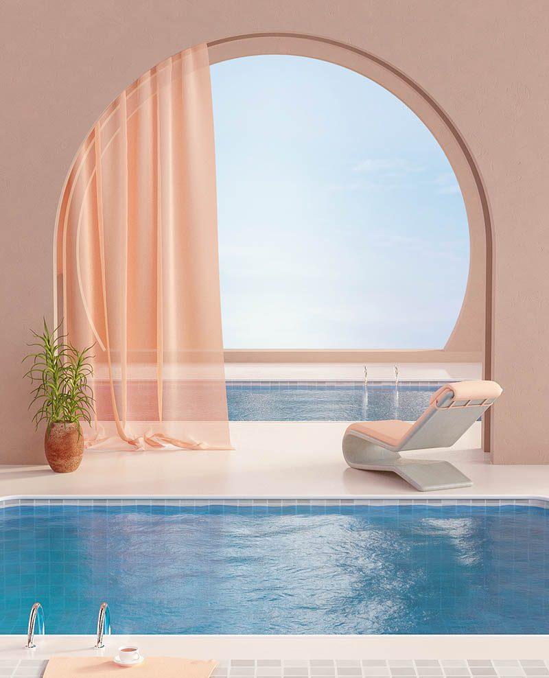 Summer in Spain, diseño arquitectónico 3D de Simon Kämpfer. Surrealismo mediterráneo