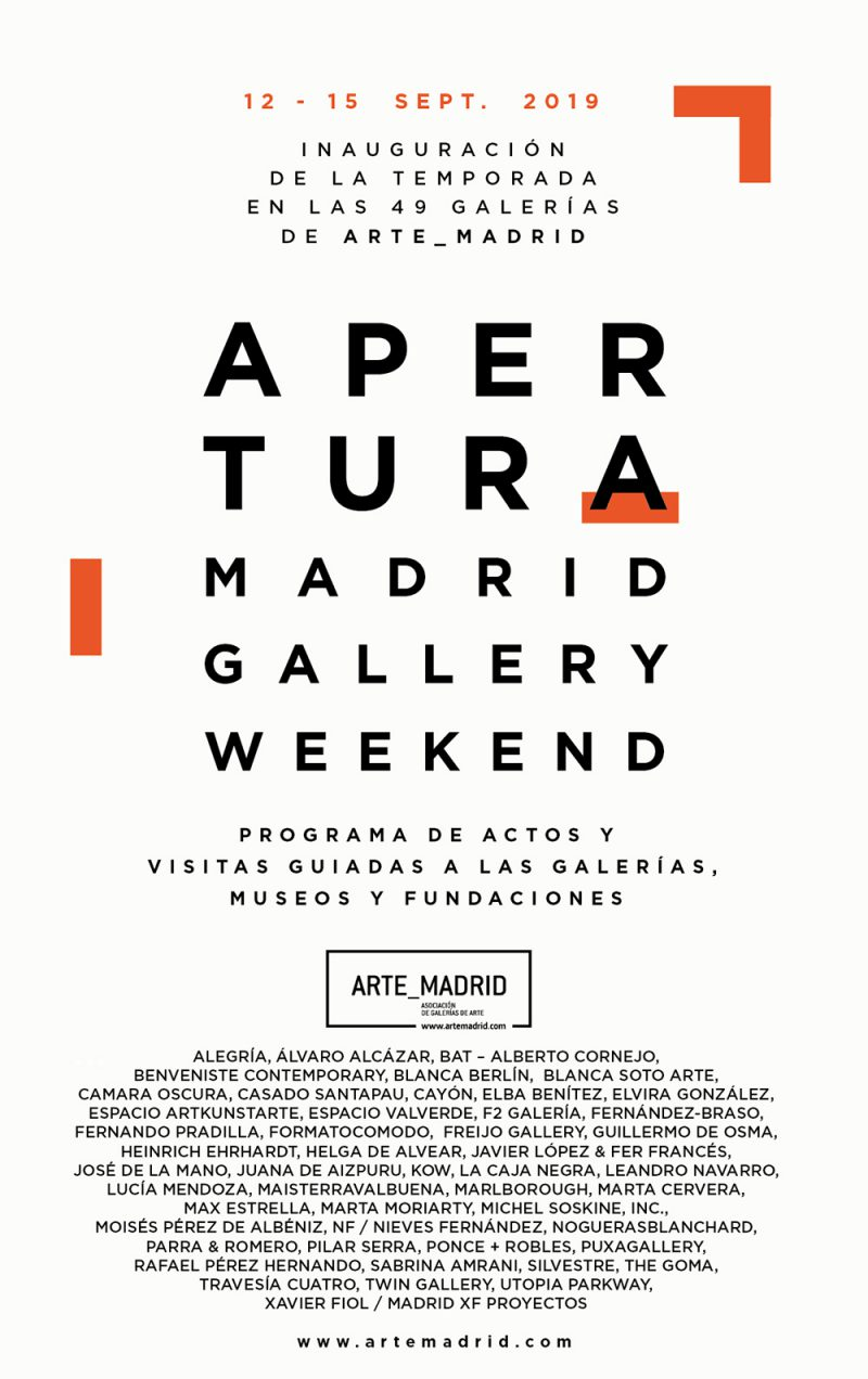 Apertura Madrid Gallery Weekend, del 12 y el 15 de septiembre