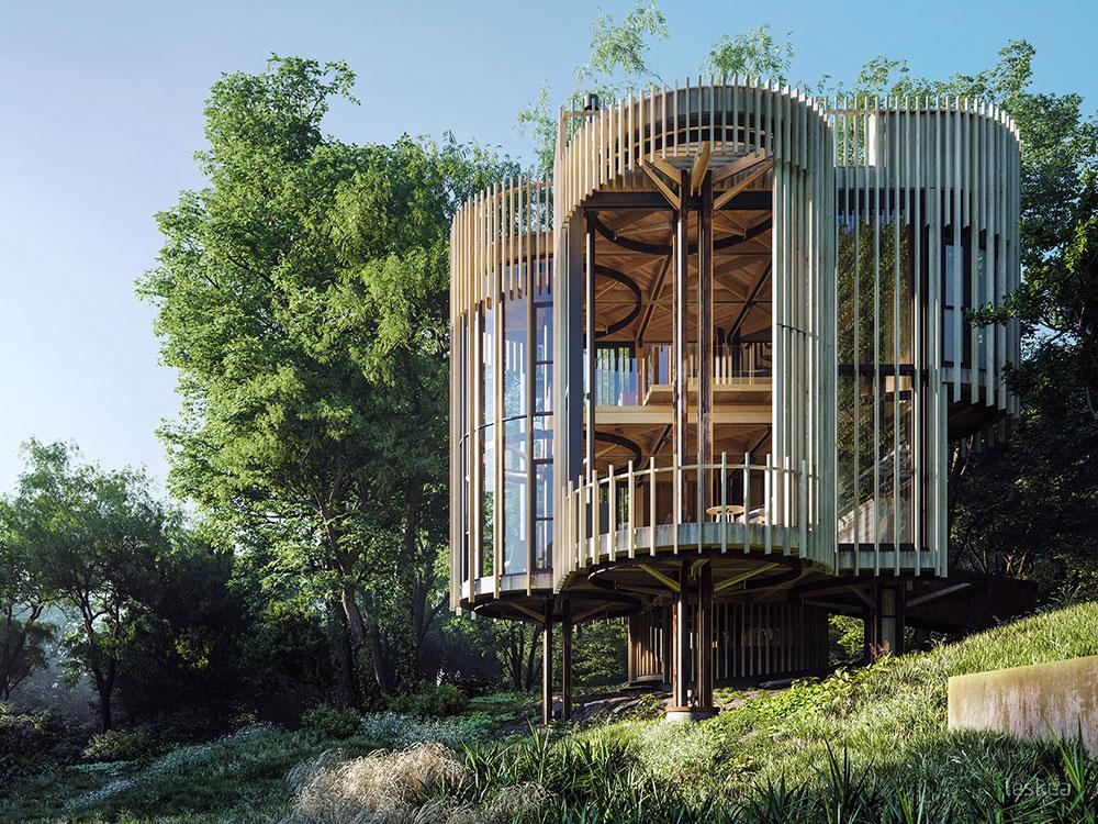Proyecto de visualización de Tree House Constantia. Un trabajo de Leskea