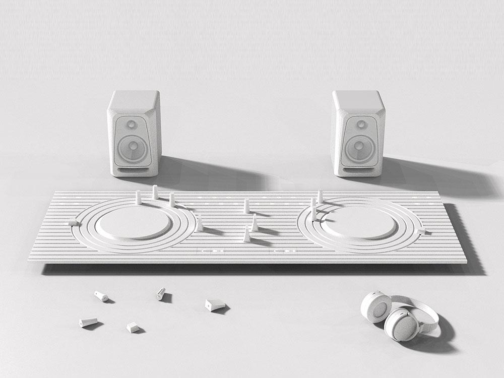 Whiteout, la consola para DJ inspirada en los karesansui. Minimalismo surcoreano