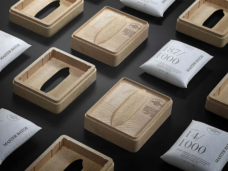 Srisangdao, el packaging hecho con cáscaras de arroz de Prompt Design