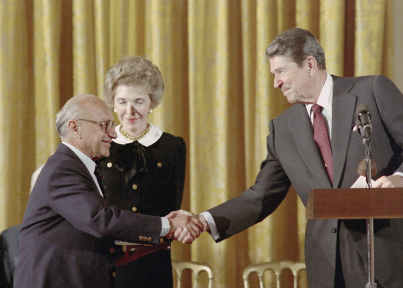 Milton Friedman, Ronald Reagan, Nancy Reagan. White House Photographic Collection
