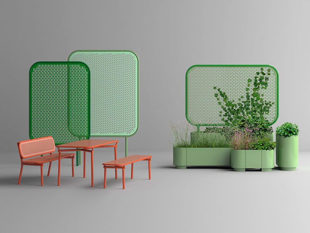 El mobiliario de exterior «pop» de Kristine Five Melvær. Metal y diseño noruego