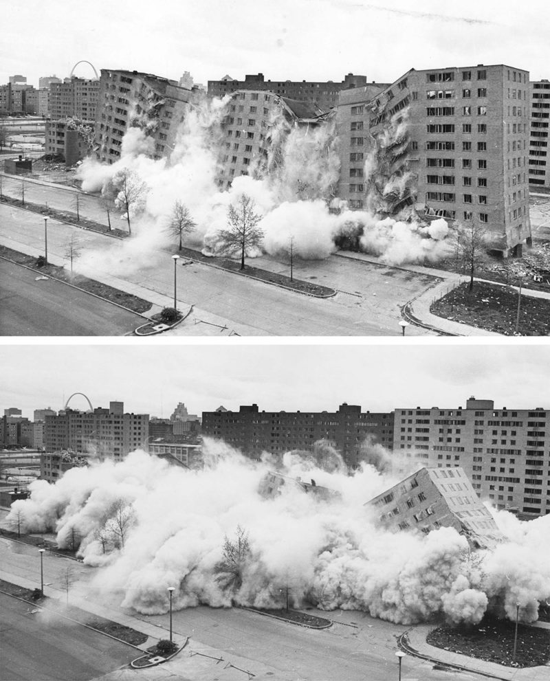 La segunda voladura de bloques de viviendas en Pruitt Igoe en abril de 1972 fue transmitida por televisión. US Department of Housing and Urban Development. Dominio público.