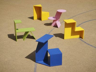 Geometría y color en el mobiliario de exterior de Yuue