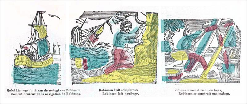 Geschiedenis van Robinson Crusoé. Xilografía con escenas de la historia de Robinson Crusoe varado en una isla, con leyendas en neerlandés y francés. Glenisson & Zonen, hacia 1840. Rijksmuseum. Dominio público.