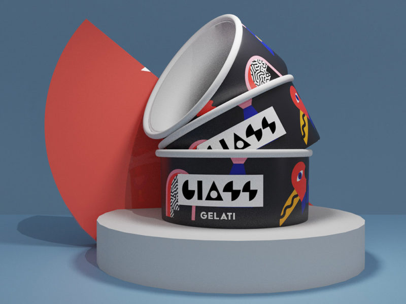 Giass Gelati, el branding futurista de Brutto