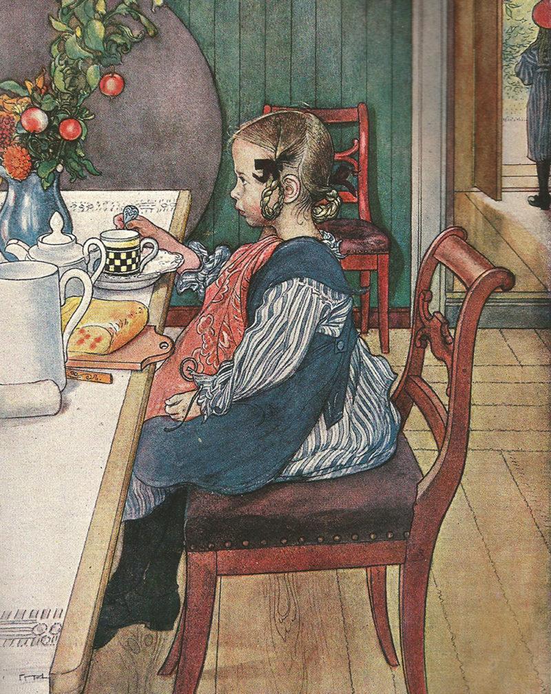Carl Larsson. Das Frühstück der Siebenschlaëfrin (fragmento, 1897), en Die Haus in der Sonne. Langewiesche Verlag. Düsseldorf, 1909. Dominio público.